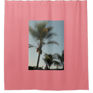 exotic palm tree with blue sky shower curtain