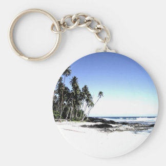 Exotic Palm Trees & Paradise Beach Basic Round Button Key Ring