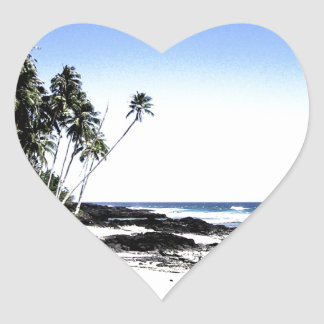 Exotic Palm Trees & Paradise Beach Heart Sticker