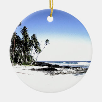Exotic Palm Trees & Paradise Beach Round Ceramic Decoration
