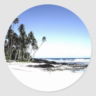 Exotic Palm Trees & Paradise Beach Round Sticker