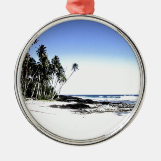 Exotic Palm Trees & Paradise Beach Silver-Colored Round Decoration