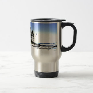 Exotic Palm Trees & Paradise Beach Stainless Steel Travel Mug