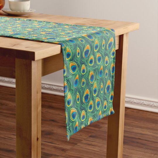 Exotic Peacock Feather Pattern Green Dining Short Table