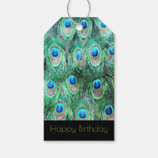 Exotic Peacock Feathers Happy Birthday Gift Tags