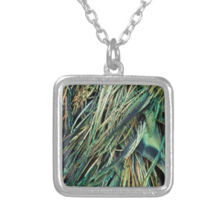 Exotic Peacock Feathers Silver Plated Necklace