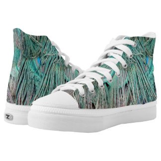 Exotic Peacock Feathers Tan And Green High Tops