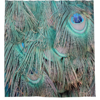 Exotic Peacock Feathers Tan And Green Shower Curtain