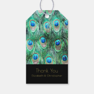 Exotic Peacock Feathers Thank You Gift Tags