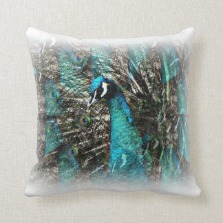Exotic Peacock Illusion of feathers throw pillow