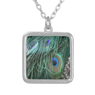 exotic peafowl feathers square pendant necklace