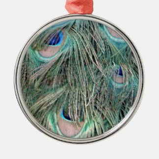 Exotic Peafowl Ruffled Feathers Christmas Ornament
