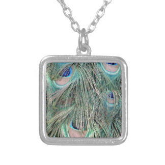 Exotic Peafowl Ruffled Feathers Silver Plated Necklace