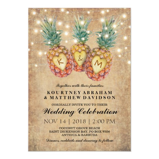 Exotic Pineapple Tropical Wedding Card