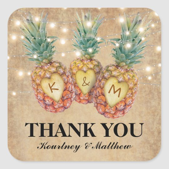 Exotic Pineapple Tropical Wedding Favour Square Sticker