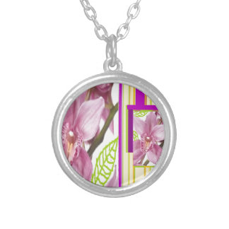 Exotic pink flowers necklaces