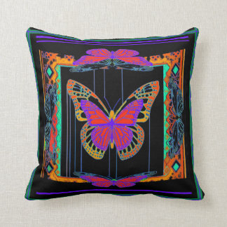 Exotic Purple Butterfly Black Pillow by Sharles