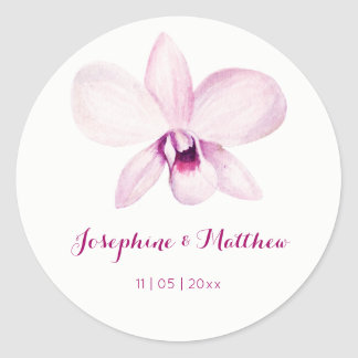 Exotic Purple Orchid Watercolor Wedding Stickers