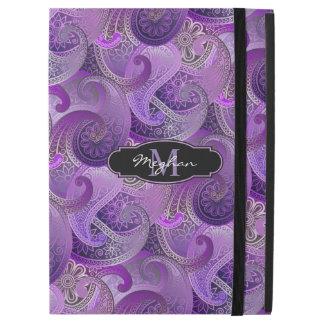 "Exotic Purple Paisley Pattern with Monogram iPad Pro 12.9"" Case"