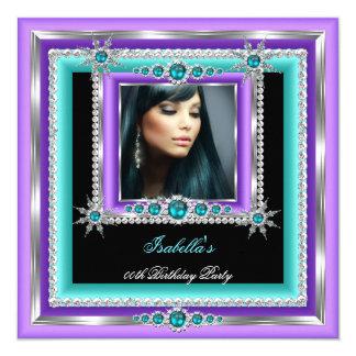 Exotic Purple Teal Blue Snowflake Birthday Party 13 Cm X 13 Cm Square Invitation Card