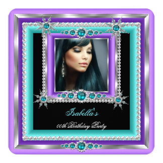 Exotic Purple Teal Blue Snowflake Birthday Party 5.25x5.25 Square Paper Invitation Card