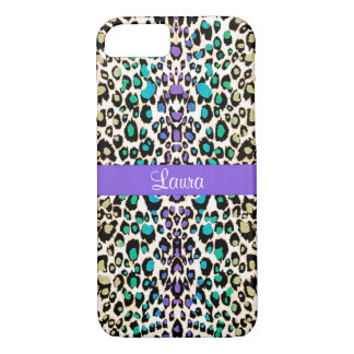 Exotic Rainbow Leopard Personalized Animal Print iPhone 8/7 Case