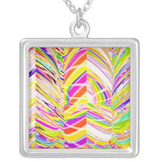 Exotic Rainbow Rock Patterns Square Pendant Necklace