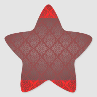 Exotic Red and Black damask wedding gift Star Sticker