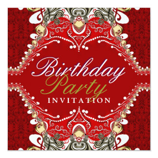 Exotic Red Batik Damask Birthday Party Invitations