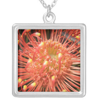 Exotic red flower necklace