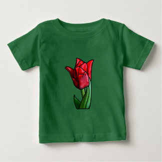 Exotic Red Stained Glass Tulip Baby T-Shirt
