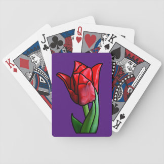 Exotic Red Stained Glass Tulip Bicycle Playing Cards