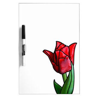 Exotic Red Stained Glass Tulip Dry Erase Board