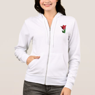 Exotic Red Stained Glass Tulip Hoodie