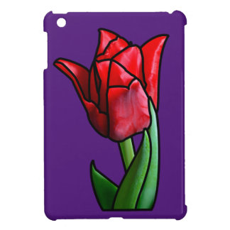 Exotic Red Stained Glass Tulip iPad Mini Case