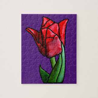 Exotic Red Stained Glass Tulip Jigsaw Puzzle
