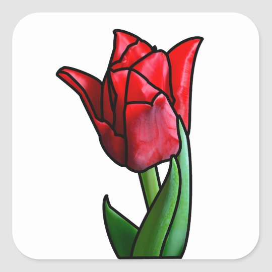 Exotic Red Stained Glass Tulip Square Sticker