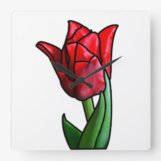 Exotic Red Stained Glass Tulip Square Wall Clock