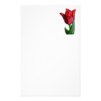 Exotic Red Stained Glass Tulip Stationery Paper