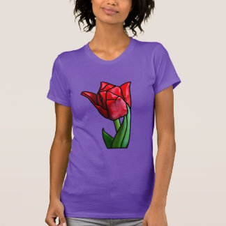 Exotic Red Stained Glass Tulip T-Shirt