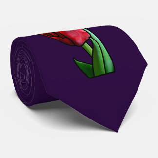 Exotic Red Stained Glass Tulip Tie