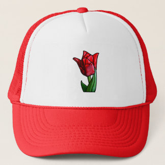 Exotic Red Stained Glass Tulip Trucker Hat