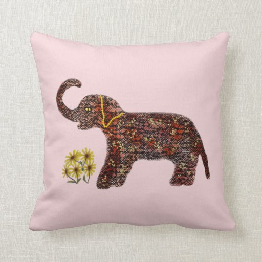 Exotic Rose Elephant Decorative Pillow