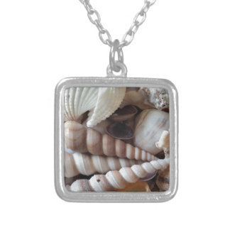 Exotic Seashells Collection, Summer Beach Square Pendant Necklace