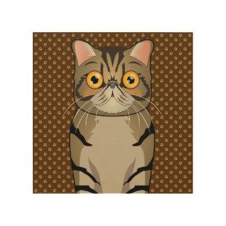 Exotic Shorthair Cat Cartoon Paws Wood Canvases