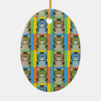 Exotic Shorthair Cat Cartoon Pop-Art Christmas Ornament