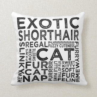 Exotic Shorthair Cat Typography Pillow