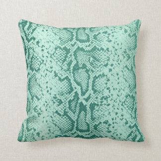 Exotic Snakeskin Pattern   mint blue Throw Pillow