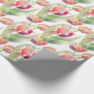 Exotic Spring Tulips Watercolor Floral Wrapping Paper