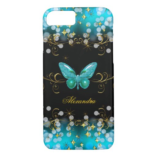 Exotic Teal Blue Gold Black Butterfly Sparkles iPhone Case